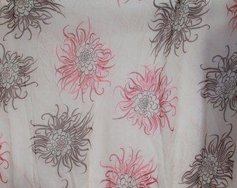 2 yards Chiffon Pink and Brown Abstract  Floral Fabric