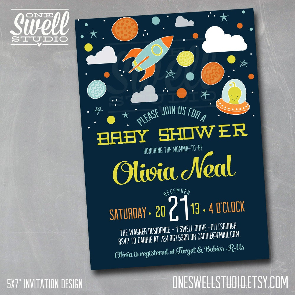 To the moon and back invitation outer space by oneswellstudio for Space themed stationery