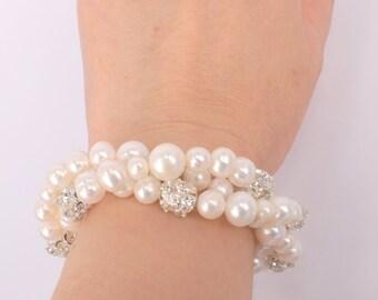 Dalliance - Vintage Style Freshwater Pearl and  Rhinestone Bracelet x 7