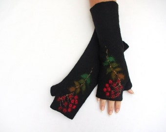 Long Felted Fingerless Gloves Fingerless Mittens Arm warmers Gloves Black Red Rowans