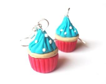 Cute Cupcake Earrings ( polymer clay jewelry mini food jewelry food earrings kawaii jewelry miniature food miniature jewelry kids earrings )
