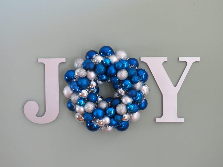 Christmas hanukkah wreath ornament wreath in a word joy wall for Christmas wall decoration ideas