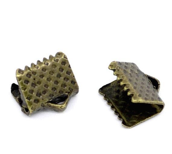 50 pcs Oxidized Brass Ribbon Crimp Ends / Antique Bronze 6mm x 8mm Ribbon Crimps ... Lead, Nickel, & Cadmium Free J6D