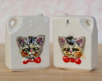 Vintage Box Salt and Pepper Shakers with Cat Faces