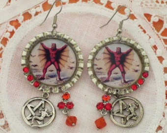DAY of the DEAD - EARRiNGS - Diablo and Silver Pentagrams with Mermaids -   Bottle Cap Art Dangles