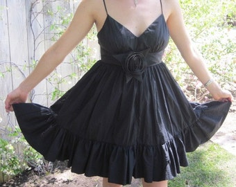 A Little BLACK DRESS -  Spaghetti Strap Satin PRINCESS Party Dress -   SiZE Small
