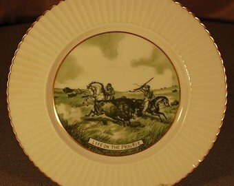 """Vintage """"LENOX"""" Currier and Ives """"Life on the Prairie"""" 10 3/4"""" dinner plate in green ca 1950S"""