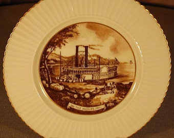 "Vintage ""LENOX"" Currier and Ives ""On the Mississippi"" 10 3/4"" dinner plate in brown ca 1950S"
