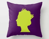 Throw Pillow Cover - Queen Elizabeth II - Green Purple - 16x16, 18x18, 20x20 - Original Design Nursery Baby Art Home Décor by Adidit