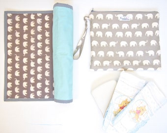 Set of Portable Baby Changing Pad / Change Mat with a Wet Bag Carry Case