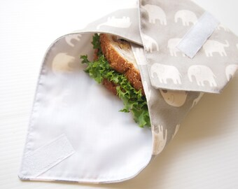 Sandwich Wrap with Food-Safe Nylon Lining - Gray Elephant