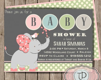 Printable Elephant Baby Shower Invitation, Girl