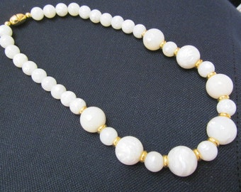 White Marbled Beaded Necklace Gold Tone Spacers
