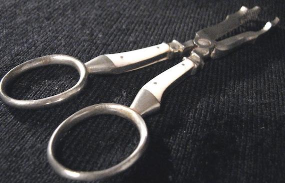 Antique Pearl Handled Tongs Sugar Nips Scissor Tongs Grape Shears 1920s
