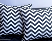 60% off CLEARANCE SALE! Chevron Zig Zag Decorative Zippered Pillow Cover - Black & White - Couch Pillow - Home Decor,  Cotton Duck, 20 x 20
