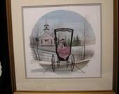 "P.Buckley Moss ""Snowey Wedding"" signed and framed."