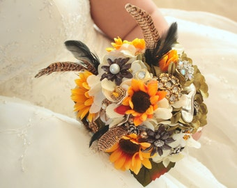 REserved for Lisa Camo Hunting Pheasant  wedding bridal brooch bouquet Etsy wedding, Deposit only