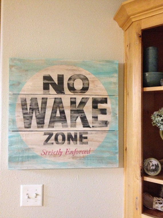 No Wake Zone 18x18 Or 24x24 Planked Canvas Style