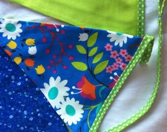 Spring Blue, Green & Turquoise cotton Bunting, banner, garland with Lime Green polka dot binding