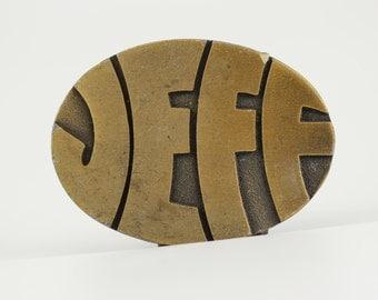 "Vintage ""Jeff"" Belt Buckle - Vintage Belt Buckle - 1970s Name Monogram Personalized Psychedelic Font 70s Fashion - Boyfriend Jeffery SALE"