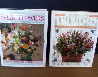 FLOWER ARRANGING lot of TWO books fresh flowers dried flowers