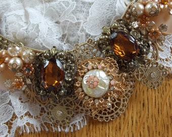 Handmade wedding dress jewelry Topaz pearls gold renaissance style one of a kind