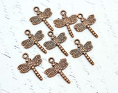 20mm Copper Dragonfly Charms, Antiqued Copper Dragonflies, Dangles Drops Double Sided with Loop 8 pcs