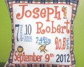 Personalized Birth Announcement Pillow plaid border