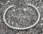 Sterling Silver Cuff Bracelet - Twisted Silver Wire Cuff - Heavy Gauge Silver Bracelet - Artisan Jewelry - Minimalist Jewelry - Women - Men