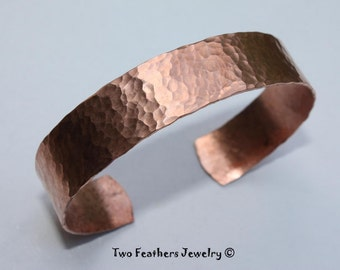 Hammered Copper Cuff Bracelet - 7th Anniversary Gift - Hand Forged Copper Jewelry For Women Or Men- Arthritis Jewelry - Two Feathers