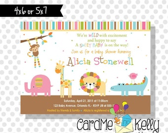 Printable Boy or Girl or Neutral Jungle Zoo Animals Baby Shower Invitation - Digital Dile