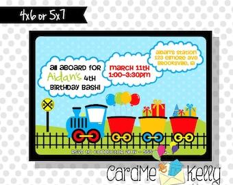 Printable Railroad Tracks Baloons Presents Colorful Choo Choo Train Birthday Invitation - Digital File
