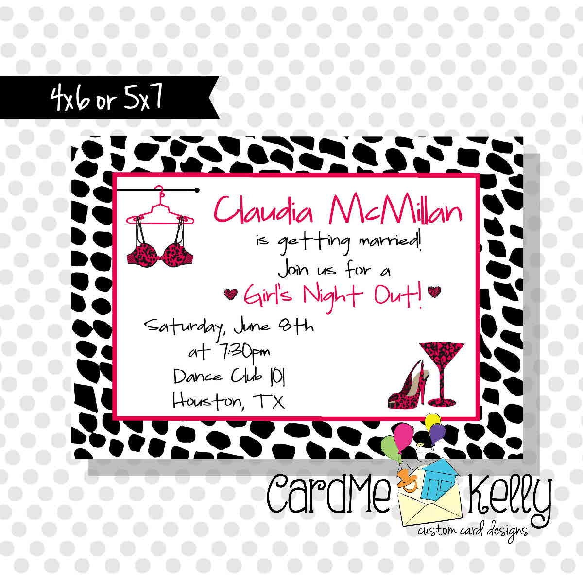 Printable Wild Animal Print Bachelorette Girls Night Out Party