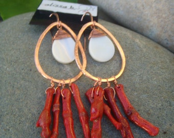 Sponge Coral & Shell Earrings - Hammered Copper Earrings - Red White Earrings - Long Dangle Earrings - Mother of Pearl - Beach