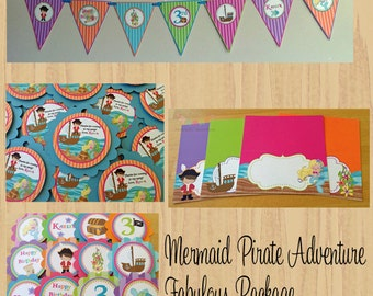 Fabulous Mermaid and Pirate Adventure Collection Party Package - Birthday Package - Baby Shower Package
