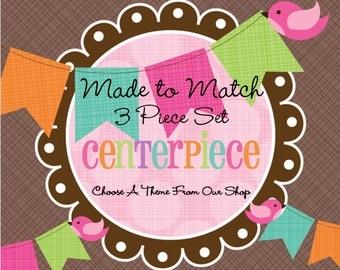 Made to Match: 3 Piece Centerpiece Set -Birthday Centerpiece -Bridal Shower- Baby Shower -Table Decoration -Dessert Table Centerpiece