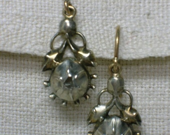 Regency Diamond Earrings, Silver and Gold, 1790s to 1820s