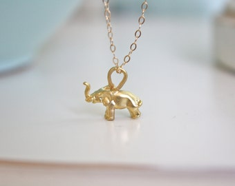 Gold necklace dainty gold necklace Lucky Elephant Gold Necklace Good luck Elephant Necklace Gifts for Her best friend gift birthday gift
