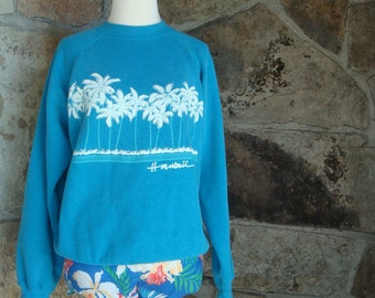 80s HAWAII PUFF paint SWEATSHIRT vintage pullover fleece L