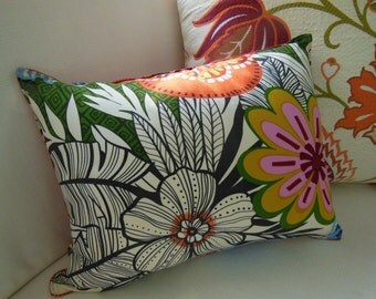 Orange Pillow Tropical Pillow - Decorative Accent Throw Pillow - 12 x 16 inch Reversible Lumbar Pillow -  Tropic Patch Flower Design Pillow