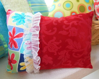 Boho Pillow Clearance - Drastically Reduced - Decorative Pillow - Bright Red Flower Power Accent Pillow - Girls Bedroom Pillow
