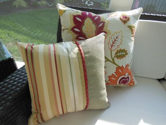 Red, Sage Green, Tan Decorative Pillow - Kingston Striped Sabada Geranium Design Pillow - Accent Throw Pillow - 15 x 15 inch Reversible