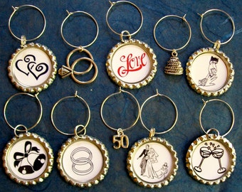 Anniversary / Bridal shower wine glass charms for the wine lover in your life.... Set of 10