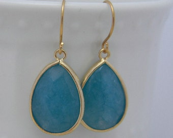 Sea Blue Earrings Trimmed in Gold-Drop Earrings-Dangle Earrings-Bridal