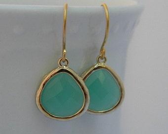 Mint Aqua Chalcedony Dangle Earrings Framed in Gold- Bride-Bridal-Wedding