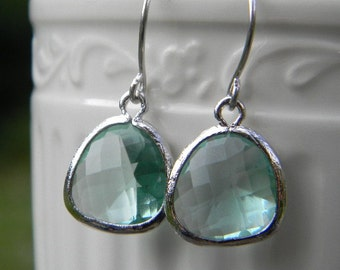Light Green Amethyst Glass Earrings Framed in Silver, Bridesmaid Jewelry, Gift For Her