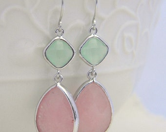 Pink and Mint Dangle Earrings Trimmed in Silver-Drop Earrings-Bridesmaid Gift- Wedding Earrings-Spring Wedding-Jewelry Gift