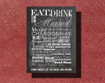 Printable Wedding Reception Chalkboard Bar Menu
