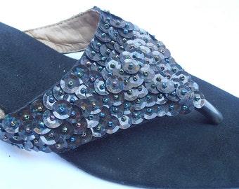 Vintage Black Sequined Slippers Vintage Sequined Black Sandals Sequined Black Slippers Black Beaded Slippers Ladies Shoe Size 7.5 Size 38