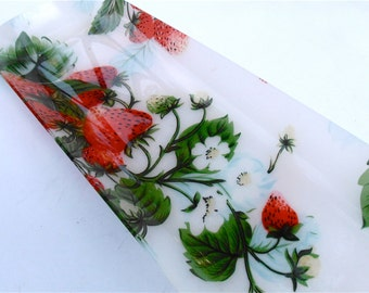 Vintage Red Strawberry Acrylic Tray Vintage Strawberry Plate Red Green Platter Strawberry Serving Dish Strawberry Plate Appetizer Fruit Tray